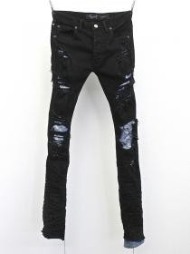 "FAGASSENT ""MESIA"" Art crushed Noir denim with stone washed blue crush denim inse"