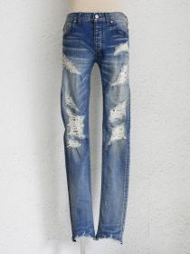 "FAGASSENT ""20SS-JACOB"" Stone bio washed blue denim with entire scar crush &..."