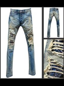 "FAGASSENT ""21SS-BLUE CHURCH"" Entire scar crush bleach denim with Blue Plasma lea"