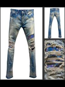 "FAGASSENT ""21SS-HENRY blue""Studs Crushed stone-washed blue jean with Rainbow pig"