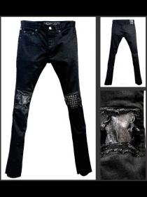 "FAGASSENT ""21SS-STUDS"" Black stone-washed denim with silver leather & Studs repa"