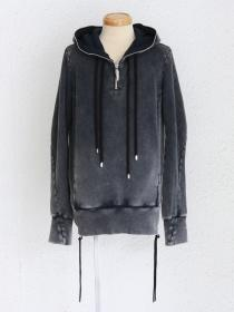 "FAGASSENT ""FP2-grey""Grey bleached Doble thread Zipped Big hood pull-over."