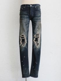 "FAGASSENT ""20AW-BLESS"" Blue distressed denim with black net knee crush &  white"