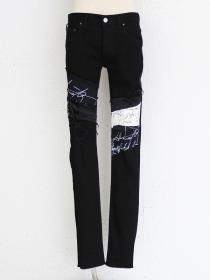 "FAGASSENT ""EAGLE"" Black& White message sleek distressed black crush denim"